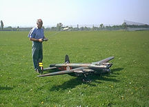 Peter Morgan and his Lanc at the club field.
